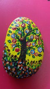handmade tree of life painted stone - deanysdesigns.co.uk