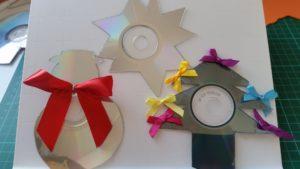 Handmade Cd recycling Christmas tree decorations ~ deanysdesigns.co.uk