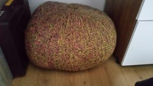 handmade knitted pouffe~ deanysdesigns.co.uk