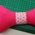 handmade squeaky dog bone toy - deanysdesigns.co.uk