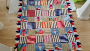 handmade knitted seaside theme throw - deanysdesigns.co.uk